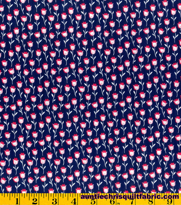 Cotton Quilt Fabric Stonehill Collection Navy Pink Floral - product images  of