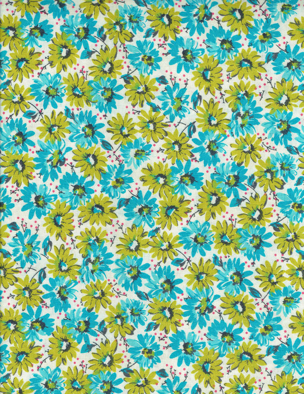 Cotton Quilt Fabric Mia Bunches Of Daisies Floral Made In USA - product images  of