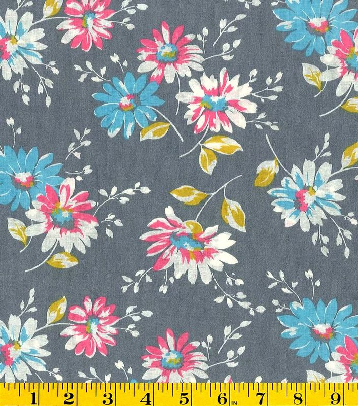 Cotton Quilt Fabric Bunches Of Daisies Floral Gray Multi Made In USA - product images  of