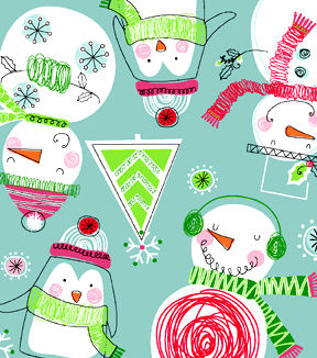 Cotton Flannel Quilt Fabric Winter Snowmen Penguins Christmas Blue - product images  of