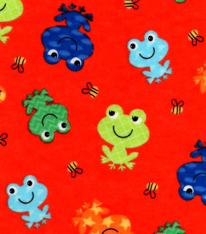 Cotton Flannel Quilt Fabric Happy Frogs And Bees Red Multi - product images  of