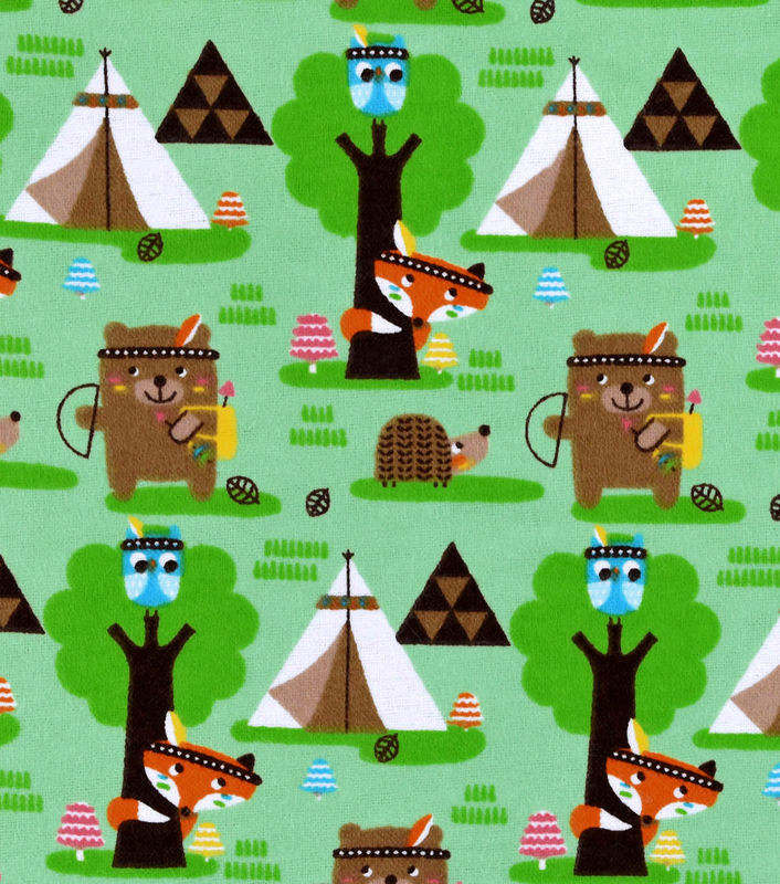 Cotton Flannel Quilt Fabric Forest Creature Tribe Bear Fox Indians - product image