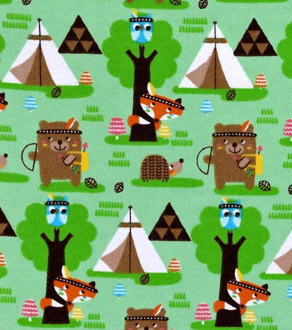Cotton,Flannel,Quilt,Fabric,Forest,Creature,Tribe,Bear,Fox,Indians,,quilt backing, dresses, quilt fabric,cotton material,auntie chris quilt,sewing,crafts,quilting,online fabric,sale fabric
