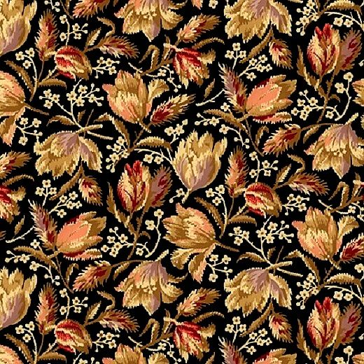 Cotton Quilt Fabric Bristol Medium Floral Reproduction Floral Black Multi  - product images  of