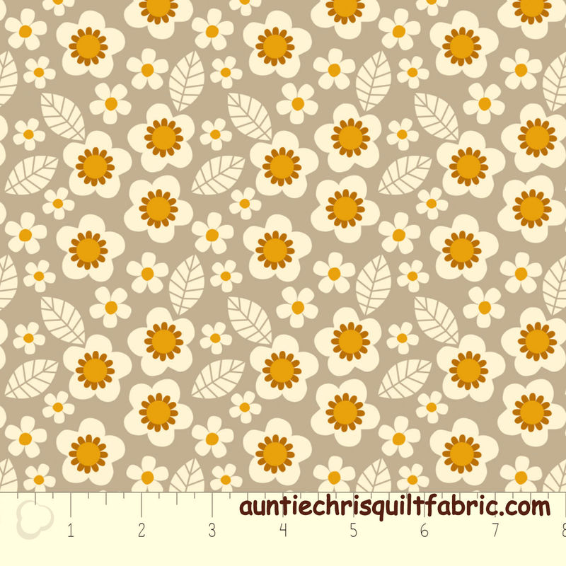 Cotton Quilt Fabric Flowers in Light Gray from Mama & Me Camelot - product images  of