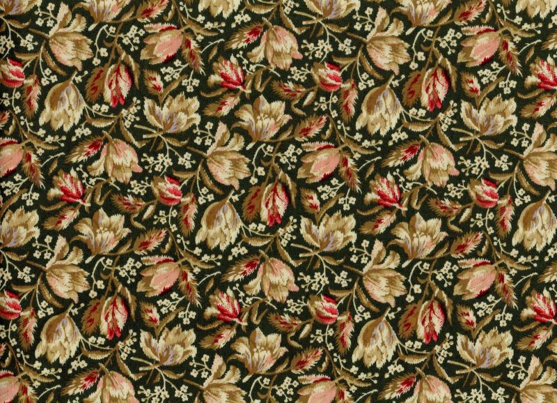 Cotton Quilt Fabric Bristol Medium Floral Reproduction Floral Olive Green Multi  - product image