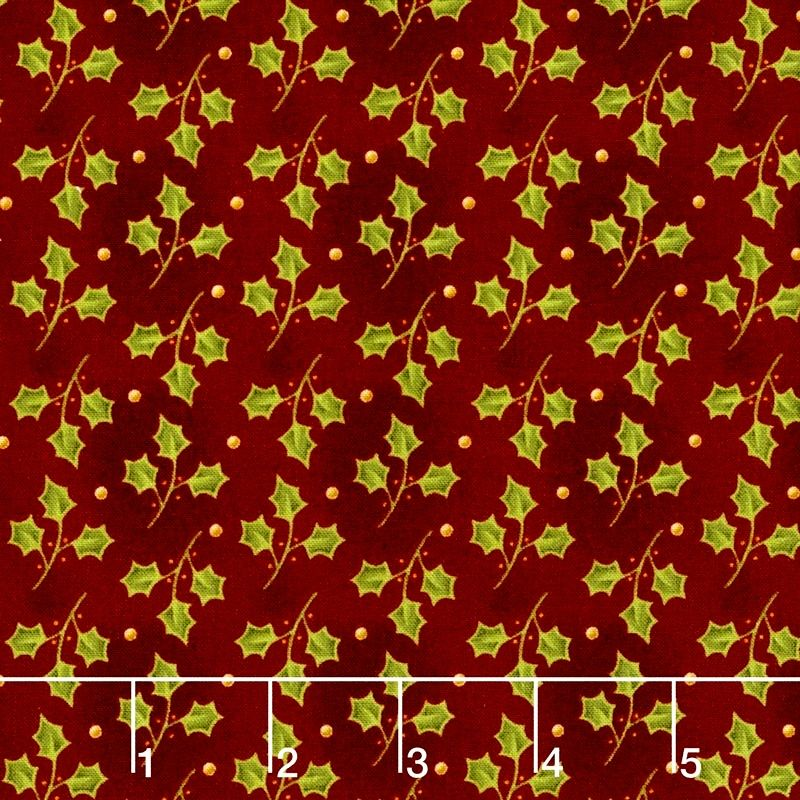 Cotton Quilt Fabric Christmas All Things Christmas Holly Red  - product images  of