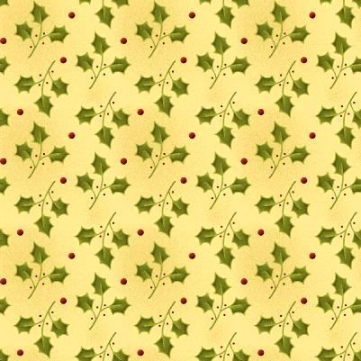 Cotton Quilt Fabric Christmas All Things Christmas Holly Buttercream - product images  of
