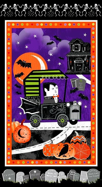 "Cotton Quilt Fabric Fangtastic Glow In The Dark Halloween 23.5""x44 - product images  of"