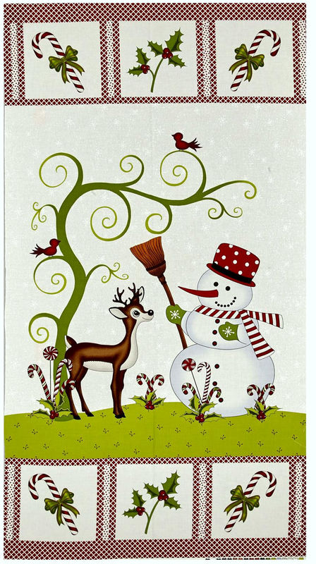 "Cotton Quilt Fabric Reindeer Magic Snowman Christmas 23.5""x44 - product images  of"