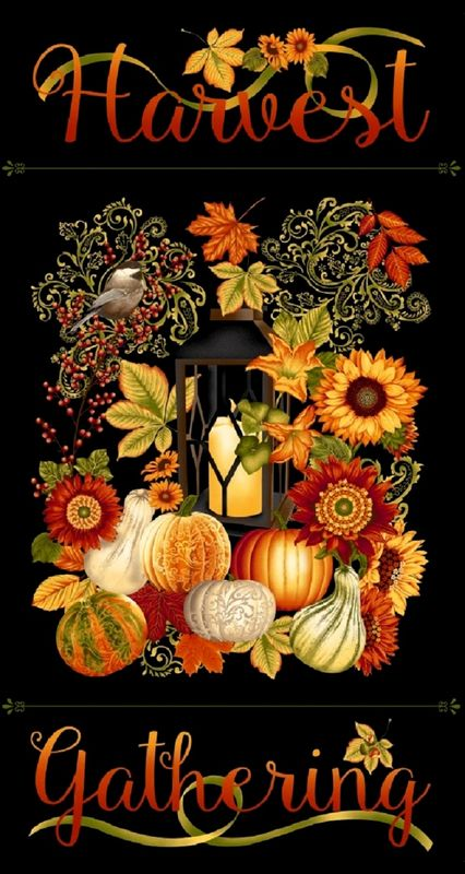 Cotton Quilt Fabric Harvest Gathering Black Fall Autumn Panel 24