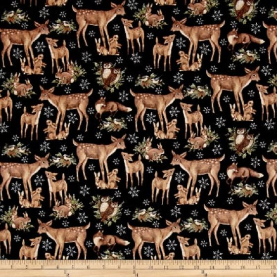 Cotton Quilt Fabric Susan Winget Old World Christmas Woodland Black - product images  of
