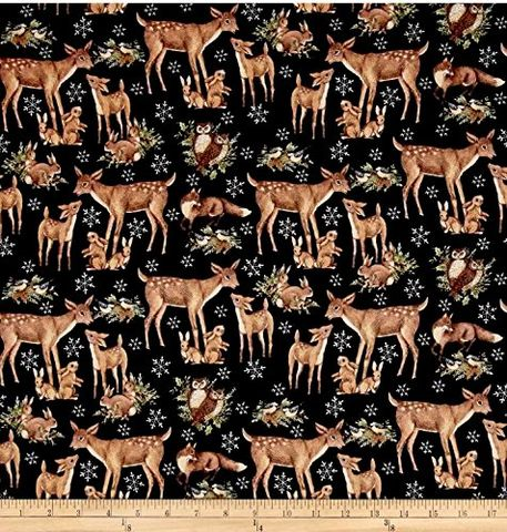 Cotton,Quilt,Fabric,Susan,Winget,Old,World,Christmas,Woodland,Black,,quilt backing, dresses, quilt fabric,cotton material,auntie chris quilt,sewing,crafts,quilting,online fabric,sale fabric