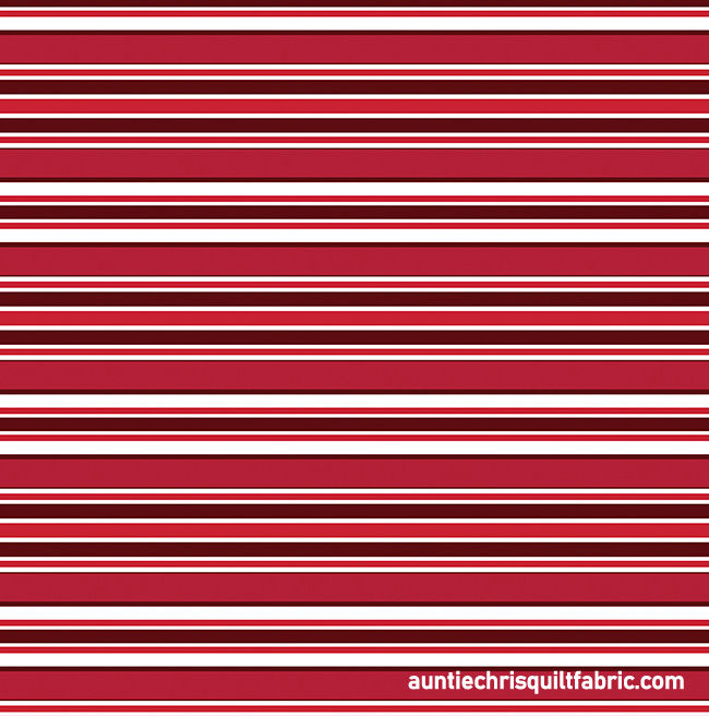 Cotton Quilt Fabric Scarlet Awning Stripe Red White  - product images  of