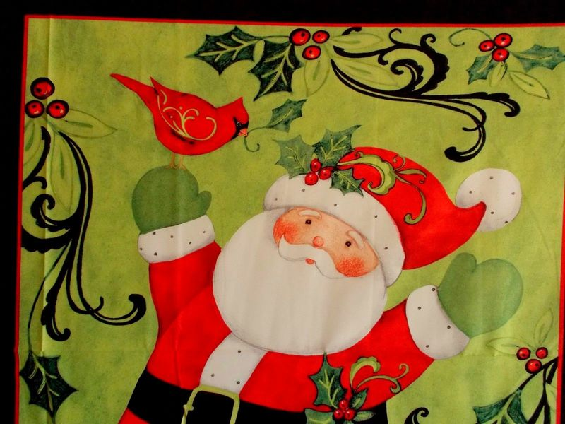 Cotton Quilt Fabric Panel Plus Swirly Santa Cardinal Christmas Kit - product images  of