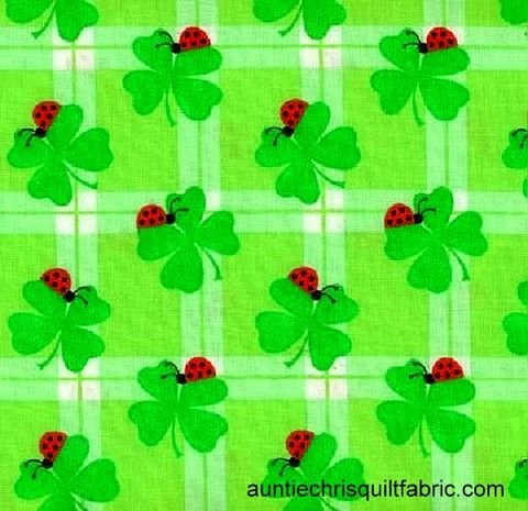 Cotton,Quilt,Fabric,Irish,Ladybugs,And,Shamrocks,Plaid,Green,,quilt backing, dresses, quilt fabric,cotton material,auntie chris quilt,sewing,crafts,quilting,online fabric,sale fabric