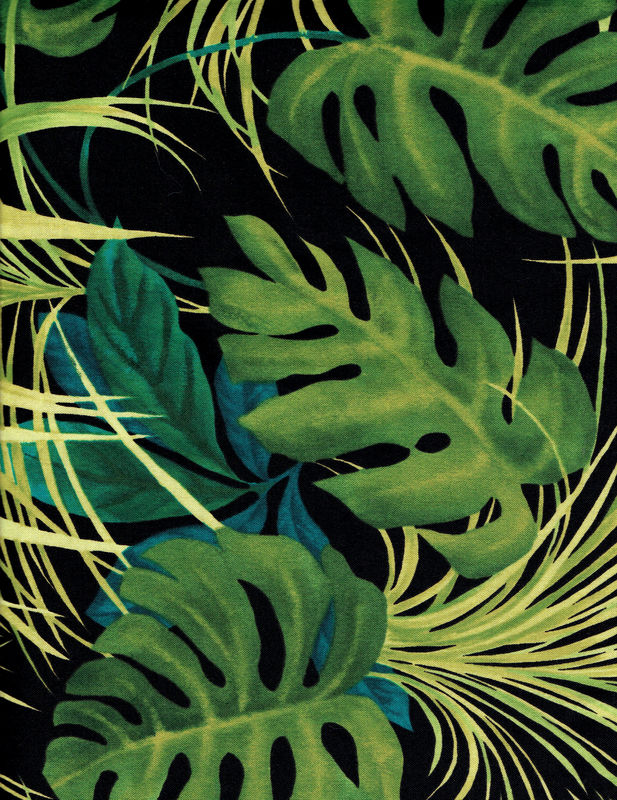 Cotton Quilt Fabric Midnight Isle Large Palm Tropical Leaves Alexander Henry - product images  of