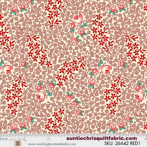 Cotton,Quilt,Fabric,Vintage,30's,Floral,By,Sara,Morgan,Reproduction,Red,,quilt backing, dresses, quilt fabric,cotton material,auntie chris quilt,sewing,crafts,quilting,online fabric,sale fabric
