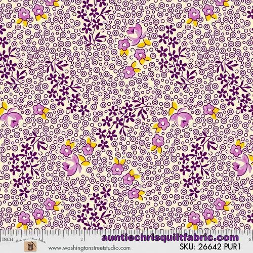 Cotton Quilt Fabric Vintage 30's Floral By Sara Morgan Reproduction Purple - product images  of