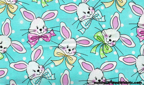 Cotton,Quilt,Fabric,Easter,Holiday,Bunny,Heads,Polka,Dots,Blue,,quilt backing, dresses, quilt fabric,cotton material,auntie chris quilt,sewing,crafts,quilting,online fabric,sale fabric
