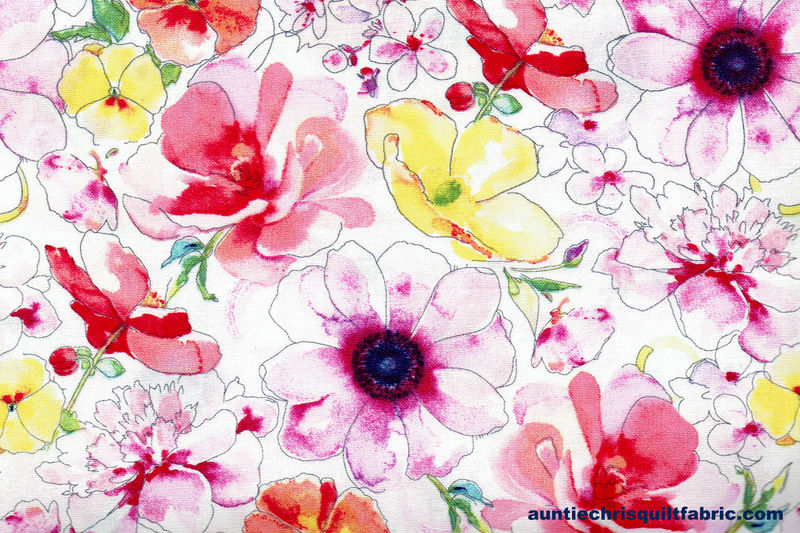Cotton Quilt Fabric Watercolor Multi Color Floral White  - product image