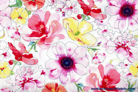 Cotton,Quilt,Fabric,Watercolor,Multi,Color,Floral,White,,quilt backing, dresses, quilt fabric,cotton material,auntie chris quilt,sewing,crafts,quilting,online fabric,sale fabric