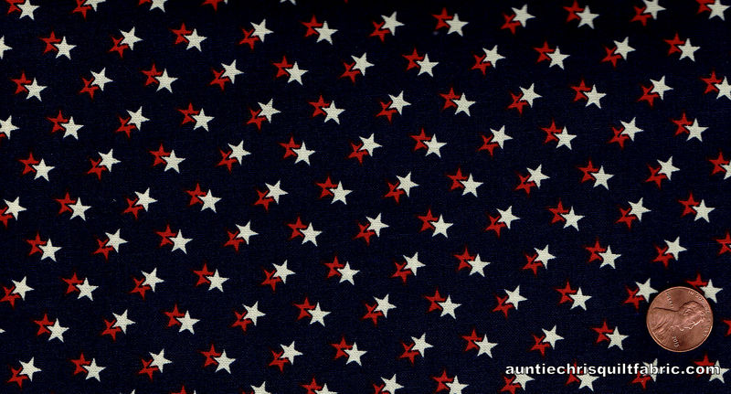 Cotton Quilt Fabric Patriotic LInear Stars Red White Blue  - product images  of