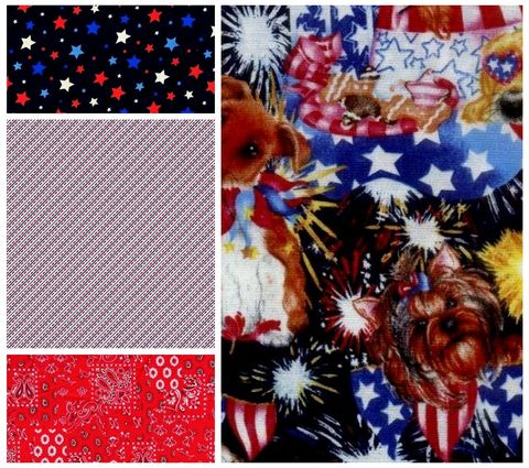 Quick,Cuts,Cotton,Fabric,Patriotic,Pups,Coordinated,2,Yard,Medley,,quilt backing, dresses, quilt fabric,cotton material,auntie chris quilt,sewing,crafts,quilting,online fabric,sale fabric