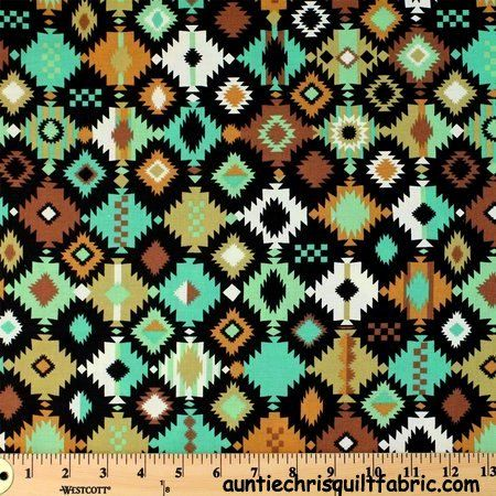 Cotton Quilt Fabric Navajo Crystal Print Earth Tones South West Indian - product images  of