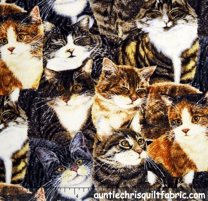 Cotton Quilt Fabric Wilmington Sew Curious Packed Cats Kittens - product images  of
