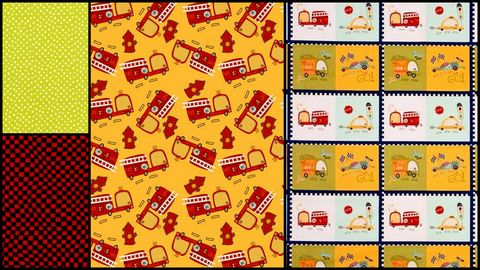 Quick,Cuts,Cotton,Fabric,Race,Day,Firetrucks,Coordinated,2,Yard,Medley,,quilt backing, dresses, quilt fabric,cotton material,auntie chris quilt,sewing,crafts,quilting,online fabric,sale fabric