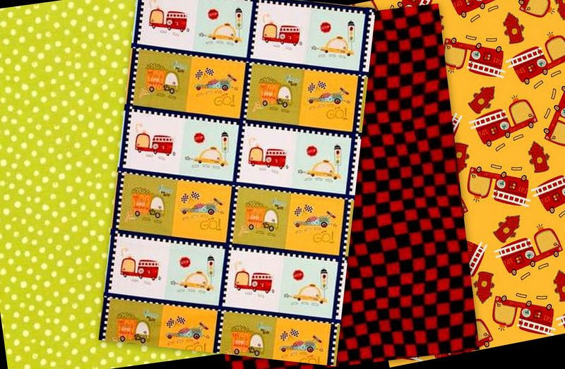 Quick Cuts Cotton Fabric Race Day Firetrucks Coordinated 2 Yard Medley  - product images  of
