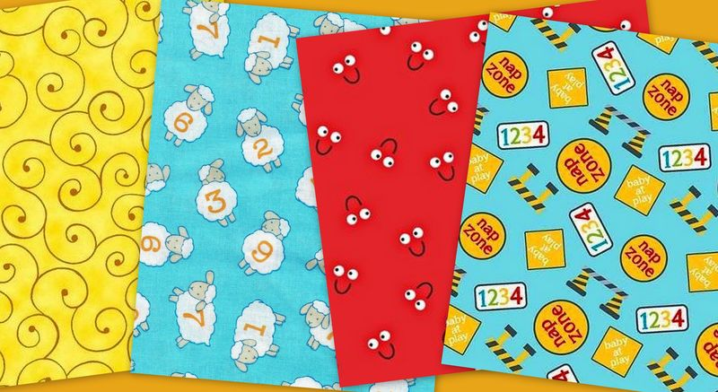 Quick Cuts Cotton Fabric Nap Zone Counting Sheep Coordinated 2 Yard Medley  - product images  of