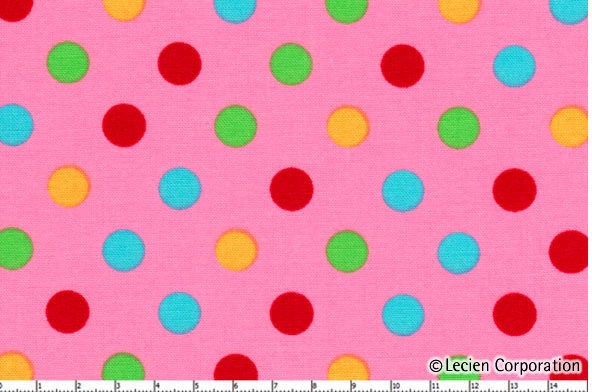 Cotton Quilt Fabric Color Basic  4524  Pink Multi Polka Dots Lecien - product image