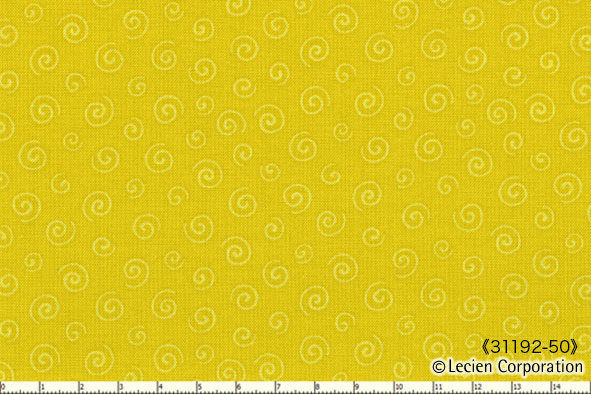 Cotton Quilt Fabric L'S MODERN FIESTA Yellow Pop Swirl Lecien - product images  of