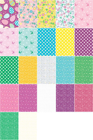 "Cotton Quilt Fabric Eggstraordinary Blooms Collection 2 1/2"" Strips - product images  of"