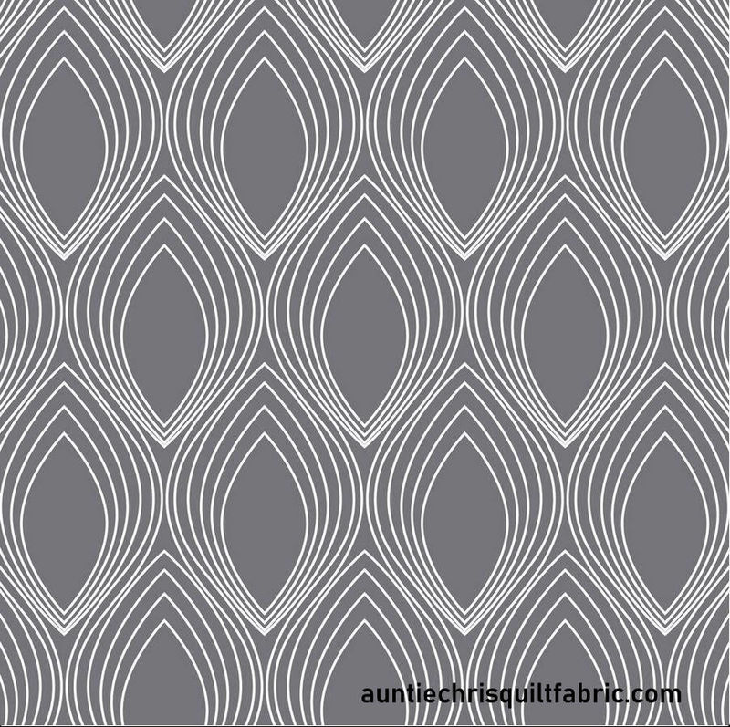 Cotton Quilt Fabric Stof Duo-Graphic Lines Gray Geometric ST4500-191 - product image