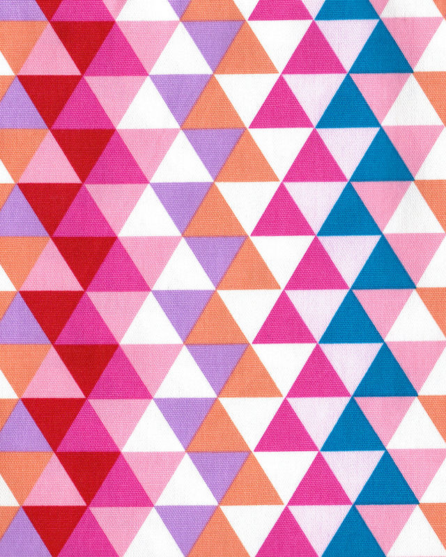 Cotton Quilt Fabric Yuru Modern Geometric Triangles Pink Multi Japan - product images  of