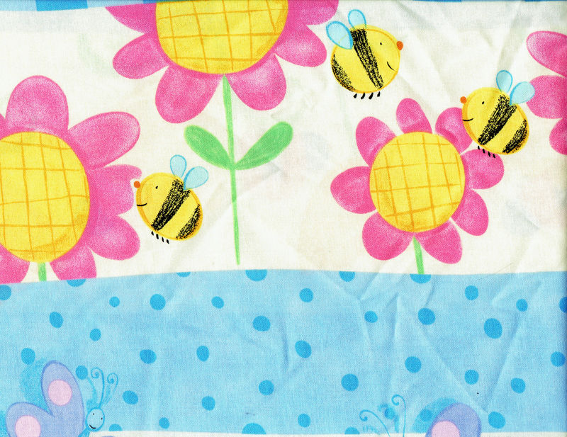 Cotton Quilt Fabric Spring Fling Border Stripe Flowers Bees Butterflies - product images  of