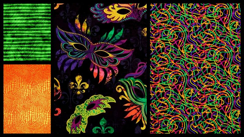 Quick Cuts Cotton Fabric Bourbon Street Trip Coordinated 2 Yard Medley  - product images  of