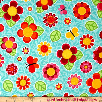 Cotton Quilt Fabric Floral Anna's Garden Tossed Flowers Sky Blue Multi - product images  of