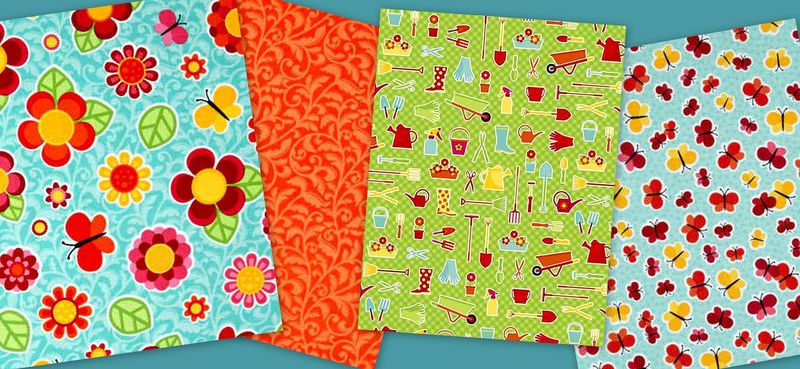 Quick Cuts Cotton Fabric Anna's Garden Coordinated 2 Yard Medley  - product images  of