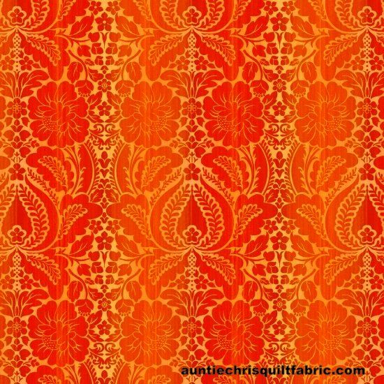 Cotton Quilt Fabric Jardiniere Orange Damask Wallpaper  - product images  of