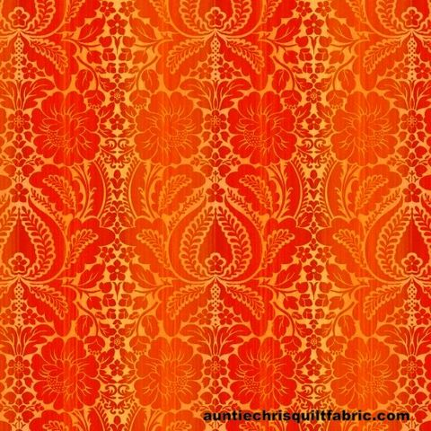 Cotton,Quilt,Fabric,Jardiniere,Orange,Damask,Wallpaper,,quilt backing, dresses, quilt fabric,cotton material,auntie chris quilt,sewing,crafts,quilting,online fabric,sale fabric