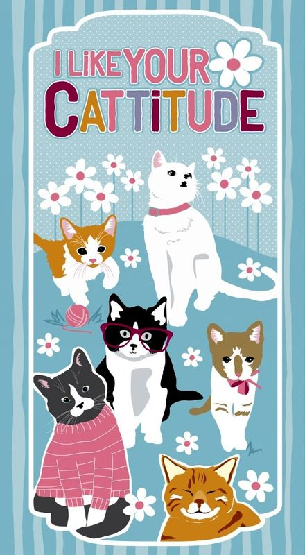 "Cotton Quilt Fabric Cattitude Kitty Cats Fabric 24"" Panel Studio E  - product images  of"