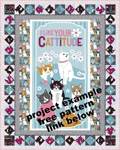 Cotton Quilt Fabric Cattitude Kitty Cats Fabric 24