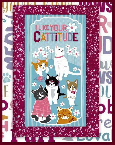 Cattitude,Easy,Panel,Quilt,Kit,Beginners,Wall,Cats,Kittens,quilt fabric,cotton material,auntie chris quilt,sewing,crafts,quilting,online fabric,sale fabric