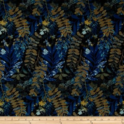 Cotton,Quilt,Fabric,Fernwood,Leaves,Midnight,Blue,Batik,Look,,quilt backing, dresses, quilt fabric,cotton material,auntie chris quilt,sewing,crafts,quilting,online fabric,sale fabric