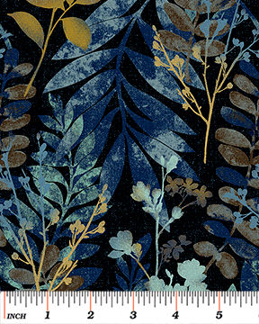 Cotton Quilt Fabric Fernwood Leaves Midnight Blue Batik Look - product images  of