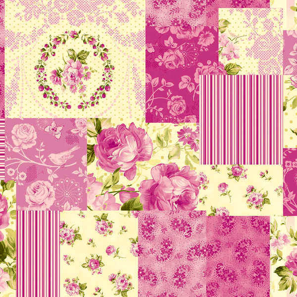Cotton Quilt Fabric Christine Cerise by Eleanor Burns Rose Floral  - product images  of